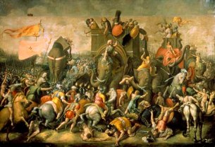 S0143894 Battle of Zama (202 BCE), in which Scipio Africanus defeated Hannibal's army. Roman school (circle of Giulio Romano), c.1521. Image licenced to Kathy Nakamura ENCYCLOPAEDIA BRITANNICA by Kathy Nakamura Usage : - 3000 X 3000 pixels (Letter Size, A4) © Giraudon / Art Resource