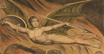 Satan Exulting over Eve; William Blake, British, 1757 - 1827; 1795; Graphite, pen and black ink, and watercolor over; 42.5 x 53.5 cm (16 3/4 x 21 1/16 in.); 84.GC.49
